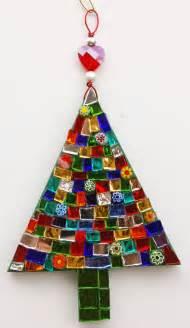 mosaic christmas tree ornament glass tree by