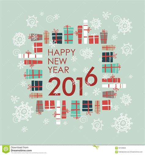 happy new year element vector design greeting card abstract happy new year 2016