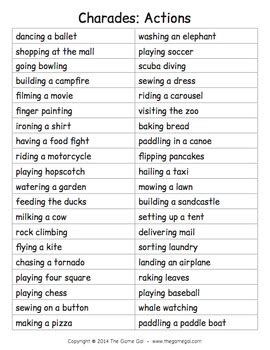list of phrases for charades by the gal teachers