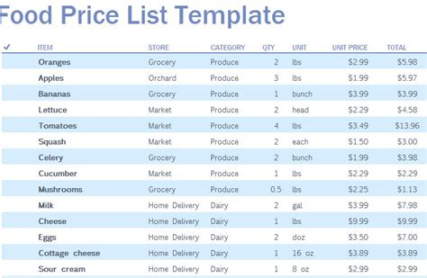 price list template food price list template