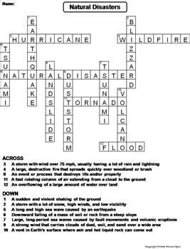 Natural Disasters Worksheet/ Crossword Puzzle by Science