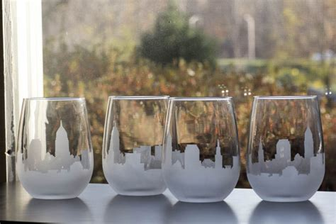 Cleveland Wine Glasses Etched Cleveland Ohio Skyline Silhouette Wine By 2craftyhons