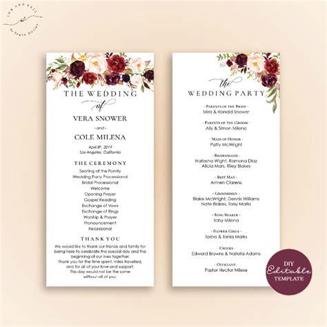 wedding program templates psd ai  premium