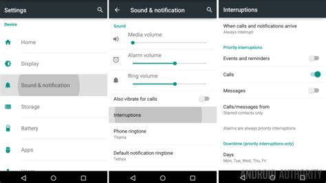 settings android android customization android lollipop priority mode and interruptions settings android