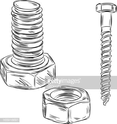 bolt detail drawing detailed drawings of nut and bolt vector art getty images