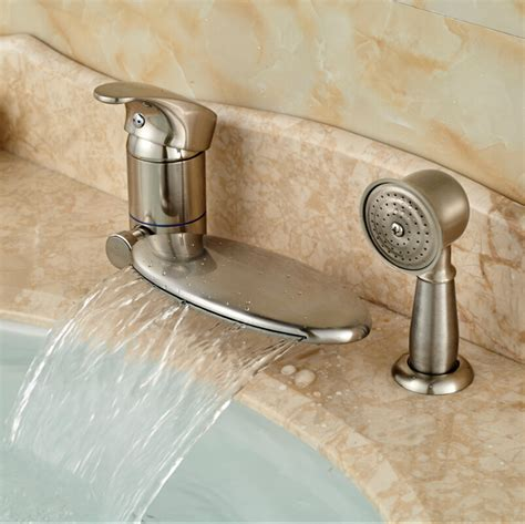 brushed nickel bathtub faucets widespread brushed nickel waterfall bath bathtub faucet