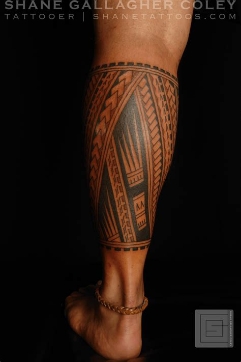 calf tattoo shane tattoos polynesian calf tatau