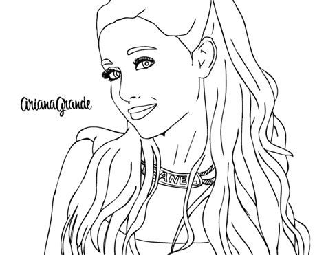 ariana grande with necklace coloring page coloringcrew com