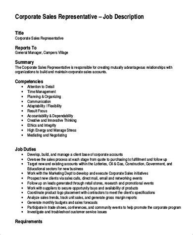 sales rep description 9 sle sales representative description pdf doc