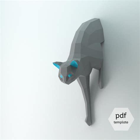 printable paper sculptures diy lowpoly cat diy cat template cat tutorial 3d cat model