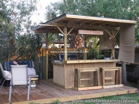 tiki bar backyard recycled pallet tiki bar ideas pallet wood projects