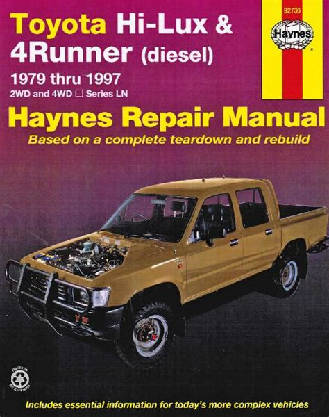 toyota hi lux 4runner diesel 1979 1997 haynes service workshop repair manual sagin workshop