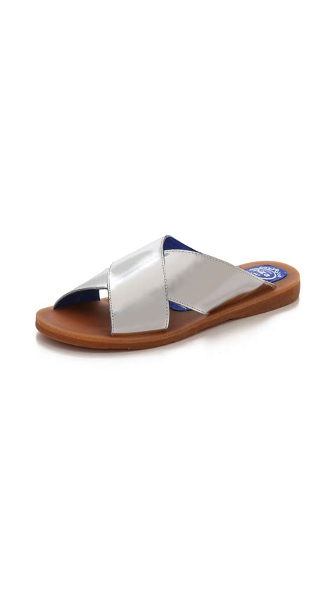 slide sandals jeffrey cbell caprese crisscross slide sandals