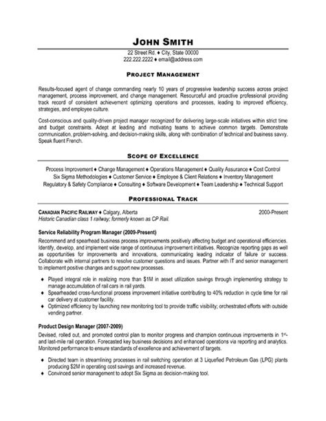project management resume template excellent project manager resume exle