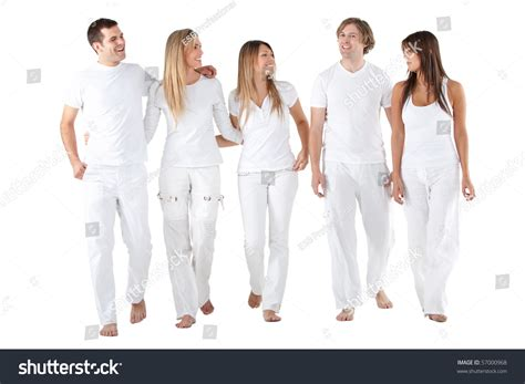 White Clothing Wardrobe Happy Of Friends In White Clothes Smiling Isolated
