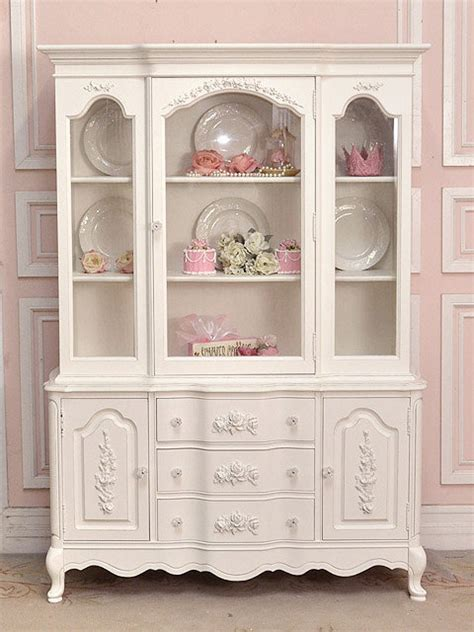 white shabby rose chic china cabinet with from the bella