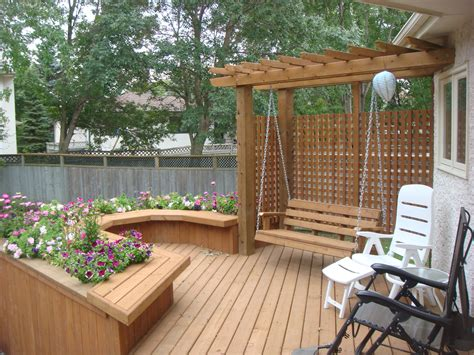 In Deck deck swing pergola and built in planter box the lawn salon