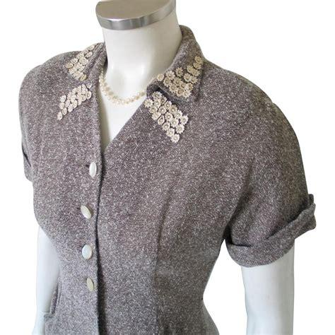 Terbatas Ruby Dress Mocca Vintage Early 1950s Sheer Mocha Brown Summer Dress