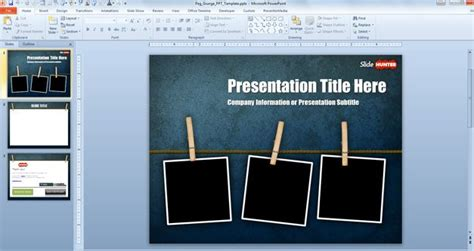 Free Widescreen Peg Grunge Powerpoint Template 16 9 Free Powerpoint Templates Slidehunter Com Microsoft Powerpoint Templates With
