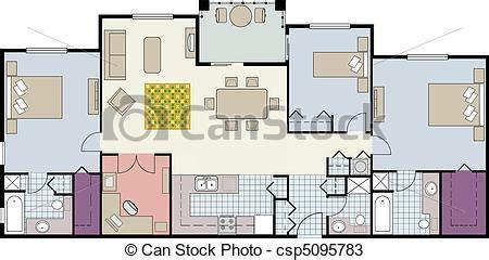 floor plan clip art floor plan of three bedroom condo vector shows the