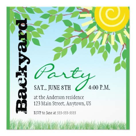 backyard birthday party invitations backyard party invitation zazzle