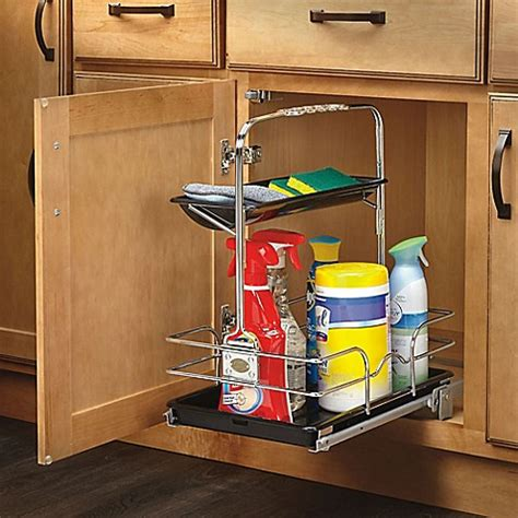 kitchen rev ideas rev a shelf 544 10c 1 under sink pull out removable chrome caddy bed bath beyond