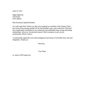 Withdrawal Of Club Membership Letter club membership resignation letter