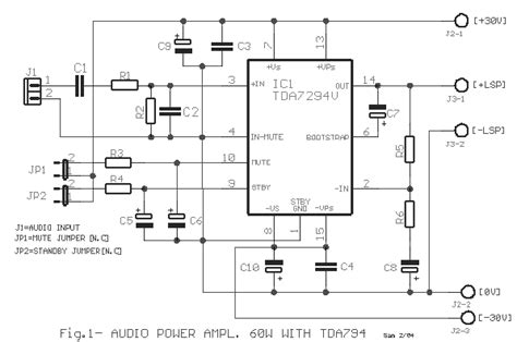 tda7265 lifier circuit diagram audio power 60w with tda7294