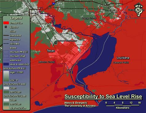 rising texas map rising seas could sw some texas cities by 2100 the texas observer