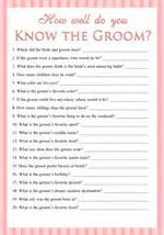 how well do you the groom printable bridal shower