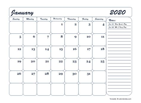 monthly blank calendar template  printable