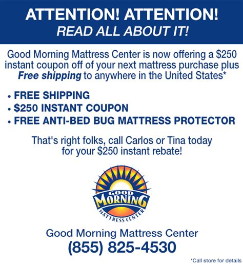 Morning Mattress Center by Morning Mattress Center 250 Instant Coupon Plus
