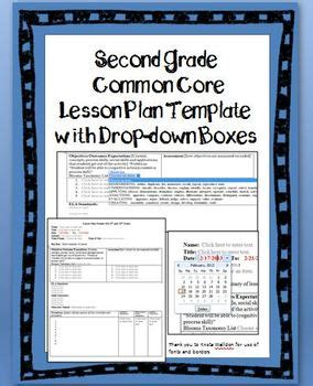 2nd grade common lesson plan template with drop