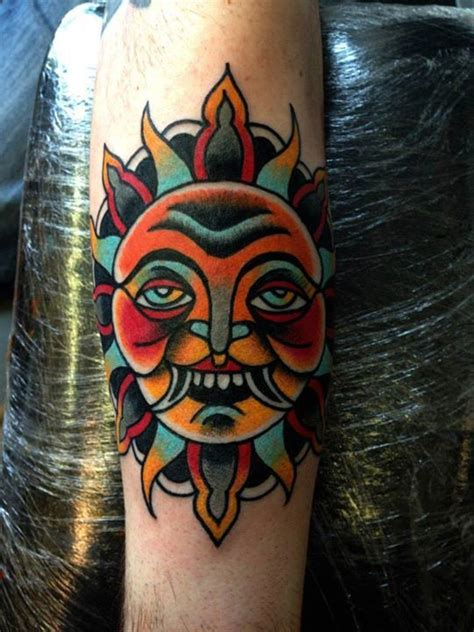 traditional sun tattoo neo traditional sun arm by luke jinks