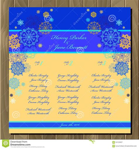 Wedding Background List by Table Guest List Vector Background With Winter Snowflakes