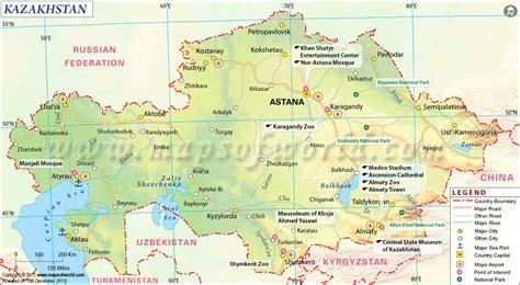 map world kazakhstan kazakhstan map tourist attractions map