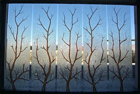 etched glass etched glass design by premier etched etched glass windows carved painted glass tree branches