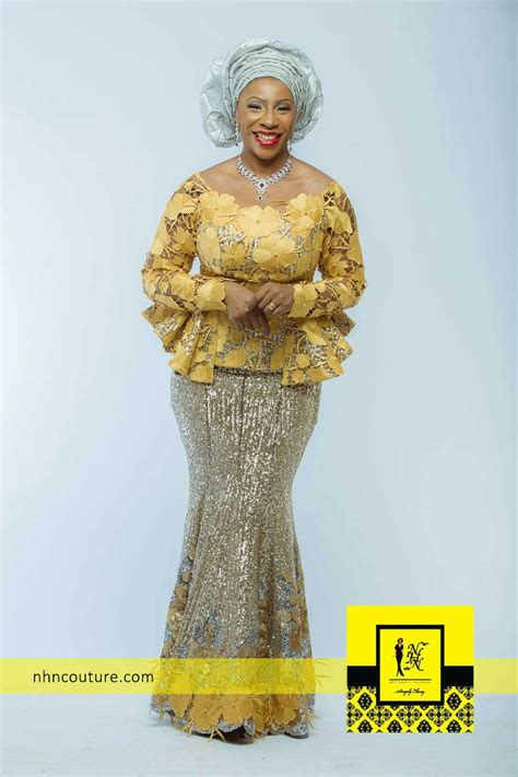 code lace nigeria styles nhn couture gold ensemble igbo tops wrapper pinterest