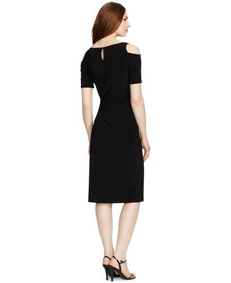 shoulder sheath dress lyst by ralph cold shoulder sheath dress
