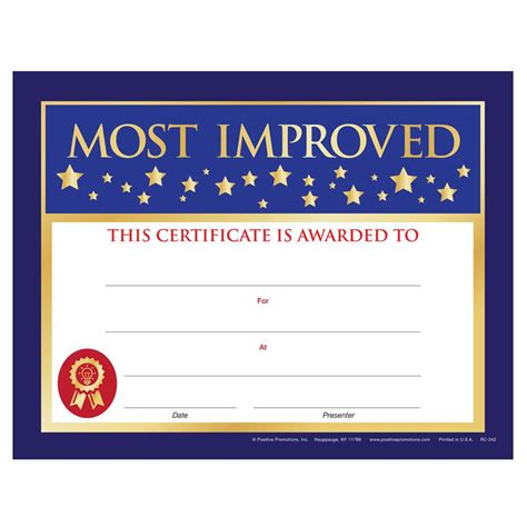 most improved certificate positive promotions