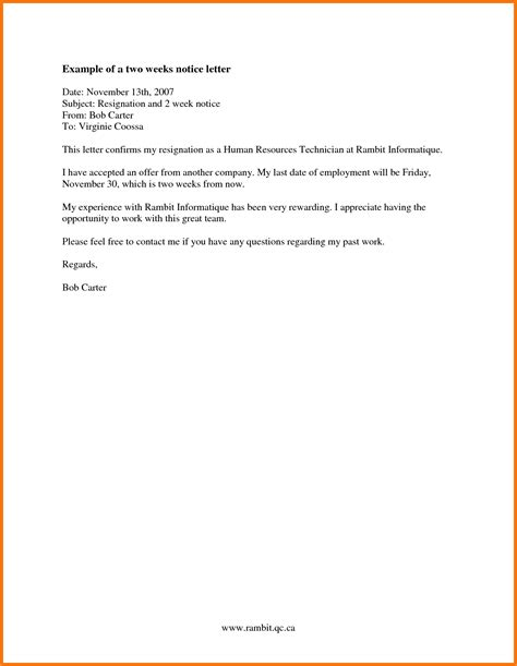 10 simple 2 week notice letter receipts template