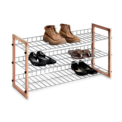 shoo rack bathroom buy 3 shelf wooden metal shoe rack from bed bath beyond