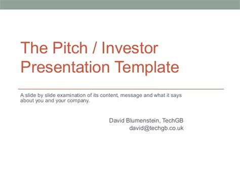 Pitch Investor Deck Template For Start Ups Investor Pitch Template