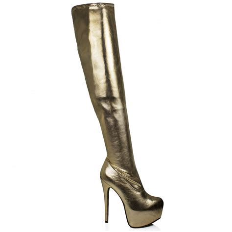 buy rosa concealed platform thigh high heel boots gold