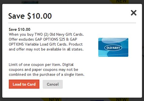 Old Gift Cards - old navy gift cards 10 off via fred meyer wilson writes