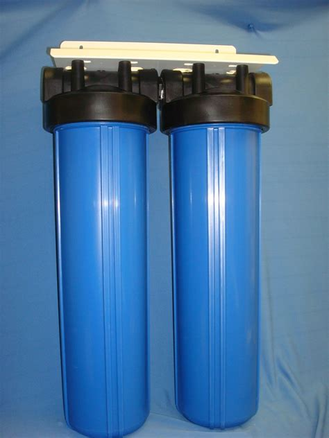 whole house water filter whole house filter dual 20 quot bb blue housing 1 quot ports carbon sediment