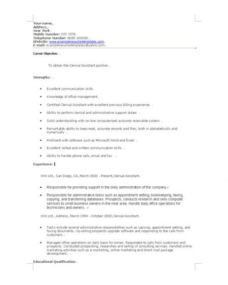 Clerical Aide Sle Resume by Clerical Assistant Resume Sales Assistant Lewesmr