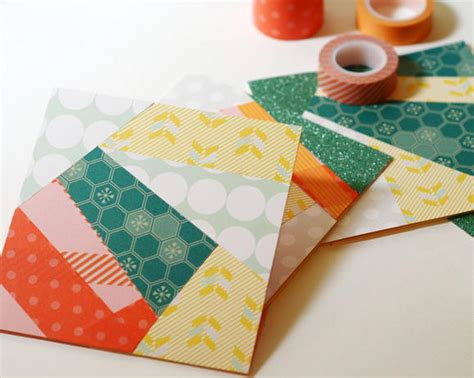 All Free Paper Crafts - funky washi cards allfreepapercrafts