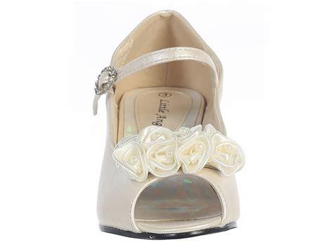 ivory peep toe dress shoe w satin flowers