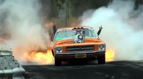 blown holden hq    fiery burnout